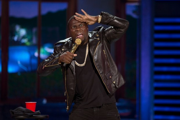 "In this image released by Universal Pictures, Kevin Hart performs in his comedy concert film, ""Kevin Hart: What Now?"" (Frank Masi/Universal Pictures via AP)"