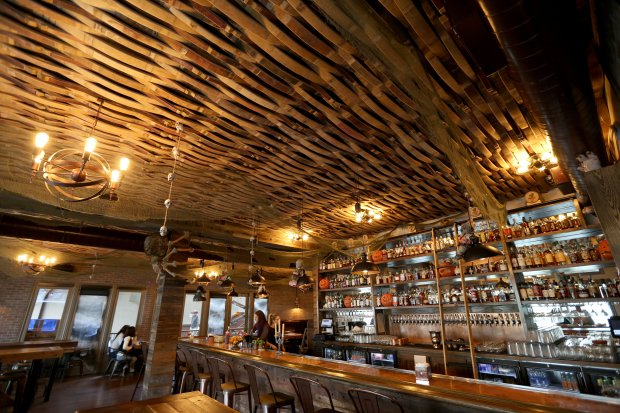 The Beer Baron Bar and Kitchen with its ceiling made of wood barrel staves started in Livermore and now has a new location in Pleasanton, Calif., on Tuesday, Oct. 25, 2016. (Anda Chu/Bay Area News Group)