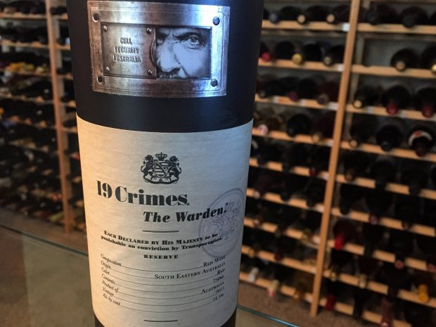 Halloween wines: The Warden from 19 Crimes. Photo credit: Mary Orlin/Staff