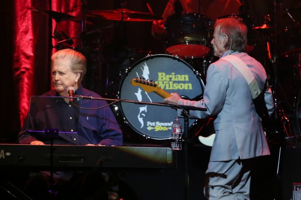 "Brian Wilson, left, performs the Beach Boys' ""Pet Sounds"" in concert at the Masonic Auditorium in San Francisco, Calif., on Wednesday, Oct. 12, 2016. (Ray Chavez/Bay Area News Group)"