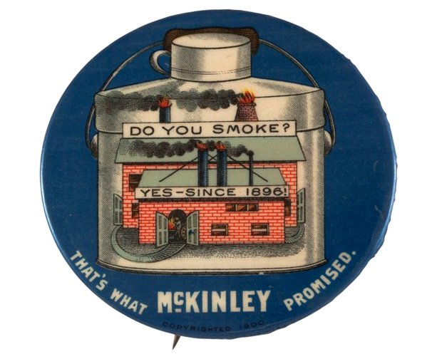 A campaign button from President William McKinley's 1900 re-election campaign. (Photo courtesy of Jane Alexiadis)