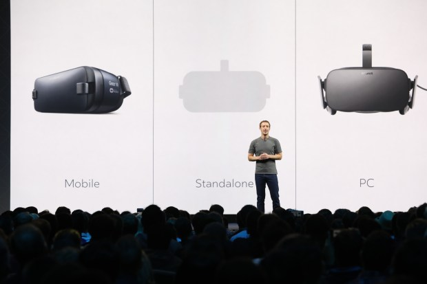 Facebook CEO Mark Zuckerberg speaks at Oculus Connect 3 in San Jose. Photo provided by Facebook.