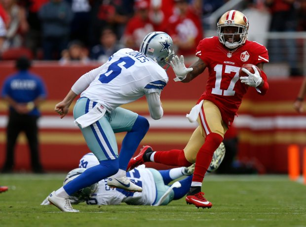 San Francisco 49ers' Jeremy Kerley (17) runs after a catch against Dallas Cowboys' Chris Jones (6) in the fourth quarter of their NFL game at Levi's Stadium in Santa Clara, Calif., on Sunday, Oct. 2, 2016. (Nhat V. Meyer/Bay Area News Group)