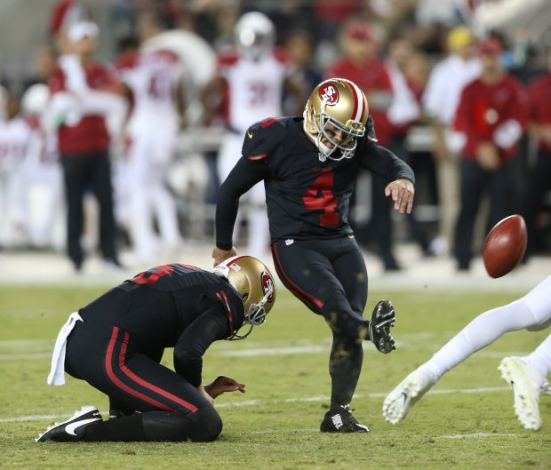 San Francisco 49ers' Phil Dawson (4) kicks the ball for field goal against Arizona Cardinals in the second half in their NFL game at Levi's Stadium in Santa Clara, Calif., on Thursday, Oct. 6, 2016. (Josie Lepe/Bay Area News Group)