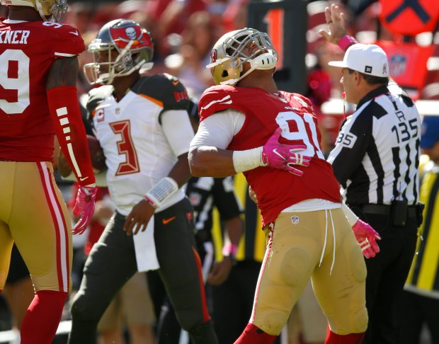 San Francisco 49ers' Arik Armstead (91) celebrates a sack against Tampa Bay Buccaneers starting quarterback Jameis Winston (3) in the first quarter of an NFL game at Levi's Stadium in Santa Clara, Calif., on Sunday, Oct. 23, 2016. (Nhat V. Meyer/Bay Area News Group)