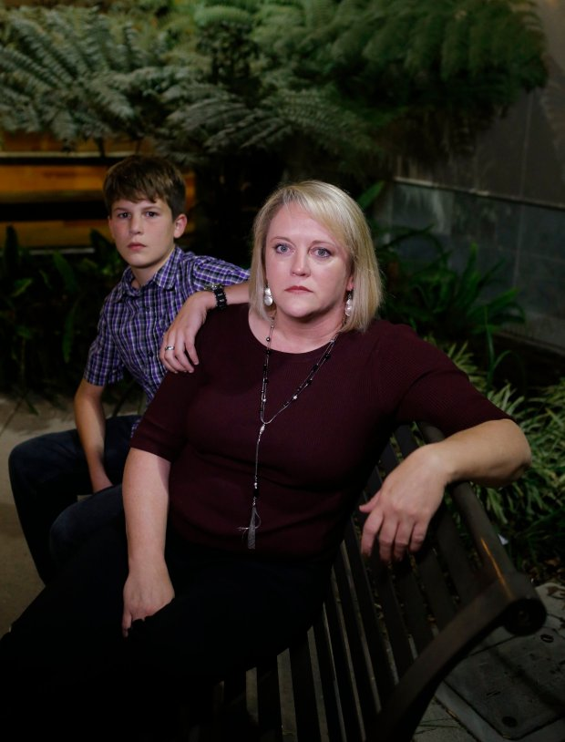 Jack Mandy,12, is photographed with mom Tessa Mandy outside of the Almaden Community Center, Library in San Jose, Calif., on Wednesday, Oct. 19, 2016. (Josie Lepe/Bay Area News Group)