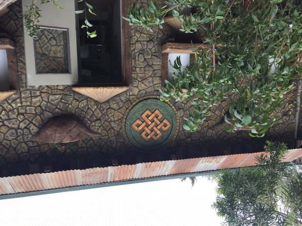 The Night House, which includes on its facade a Buddhist symbol called the Endless Knot, is part of the new enclosure built for the red pandas at Happy Hollow Park & Zoo, which will be unveiled to the public on Saturday, Oct. 8, 2016. (Sal Pizarro/Bay Area News Group)