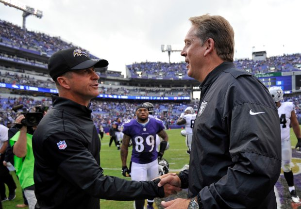 Baltimore Ravens head coach John Harbaugh, left, shakes hands with Oakland Raiders head coach Jack Del Rio after an NFL football game, Sunday, Oct. 2, 2016, in Baltimore. Oakland won 28-27. (AP Photo/Gail Burton)