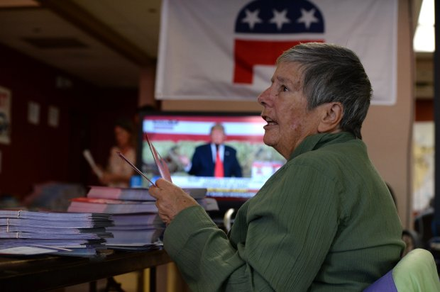 Barbara Pratt, of Reno and formerly from the Bay Area, works at a Republican staging area in Reno, Nevada on Saturday, Oct. 29, 2016. Hundreds of Bay Area volunteers are driving to Nevada, a battleground state, to work for their candidates. (Dan Honda/Bay Area News Group)