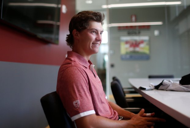 Stanford senior golfer Maverick McNealy, currently the top-ranked amateur golfer in the world, listens to a question while being interviewed at the Stanford University practice facility in Stanford, Calif., on Thursday, Oct. 13, 2016. (Nhat V. Meyer/Bay Area News Group)