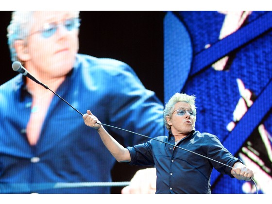 The Who's Roger Daltrey (lead vocalist) and guitarist Pete Townsend perform on the final night of Desert Trip Weekend 2 Sunday, Oct. 16, 2016, at the Empire Polo Club in Indio. (WILL LESTER, STAFF PHOTOGRAPHER)