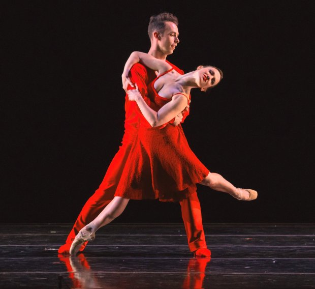 "Ben Needham-Wood and Erin Yarbrough-Powell in ""River,"" a world premiere by choreographer-in-residence Amy Seiwert (Keith Sutter)"