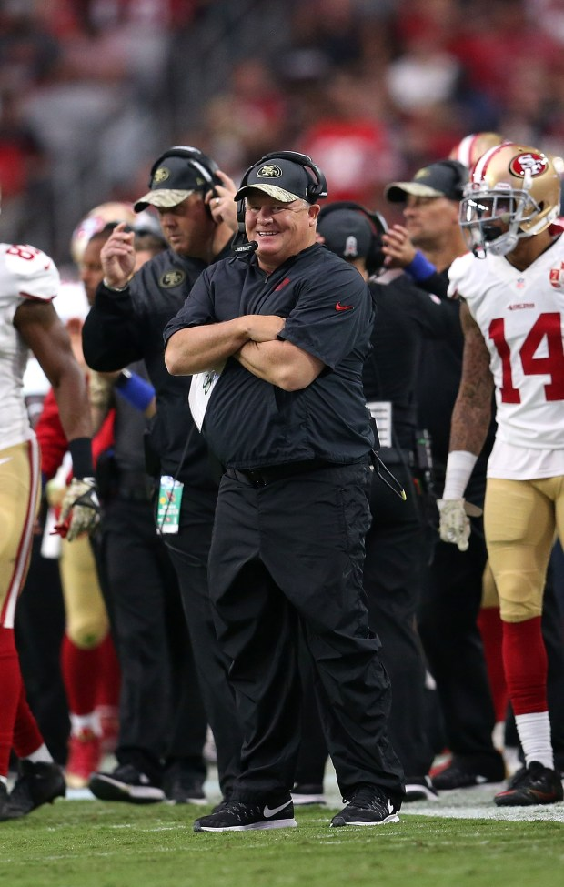 Head coach Chip Kelly of the San Francisco 49ers watches the action during the second quarter of the NFL football game against the Arizona Cardinals at University of Phoenix Stadium on November 13, 2016 in Glendale, Arizona. (Photo by Chris Coduto/Getty Images)
