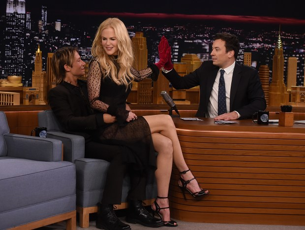 """NEW YORK, NY - NOVEMBER 16: Keith Urban, Nicole Kidman and host Jimmy Fallon during a segment on """"The Tonight Show Starring Jimmy Fallon"""" at Rockefeller Center on November 16, 2016 in New York City. (Photo by Jamie McCarthy/Getty Images)"""