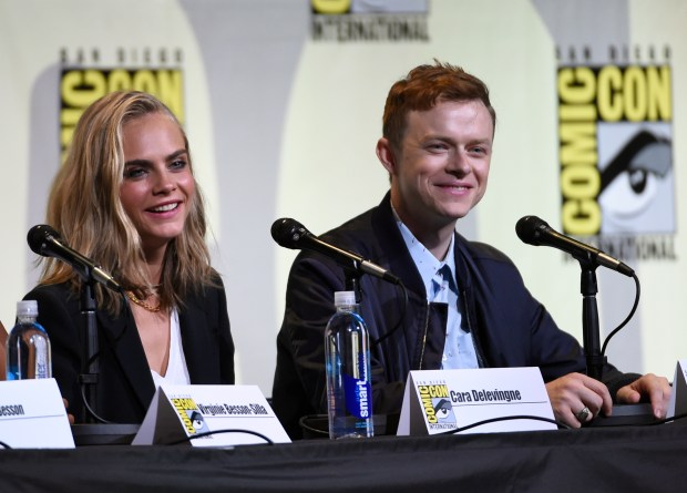 "Cara Delevingne, left, and Dane DeHaan attend the ""Valerian and the City of a Thousand Planets"" panel on day 1 of Comic-Con International on Thursday, July 21, 2016, in San Diego. (Photo by Chris Pizzello/Invision/AP)"