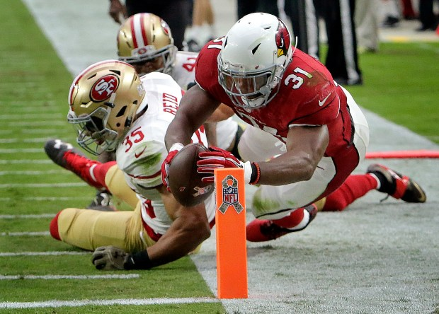 Arizona Cardinals running back David Johnson (31) dives for a touchdown as San Francisco 49ers free safety Eric Reid (35) defends during the first half of an NFL football game, Sunday, Nov. 13, 2016, in Glendale, Ariz. (AP Photo/Rick Scuteri)