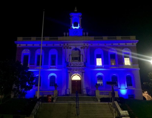 South San Francisco officials will light its City Hall blue for a week in honor of an officer injured Thanksgiving afternoon as well as other law-enforcement officers across the country who have been injured or killed in the line of duty.