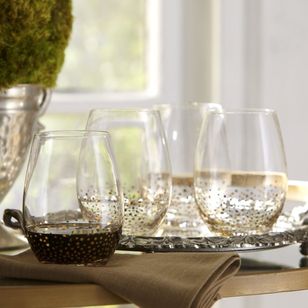 These Birch Lane stemless wine glasses are less likely to tip over than traditional stemmed glassware. (BirchLane.com)