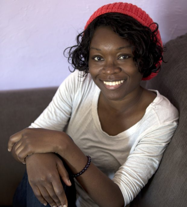 "Echo Brown, an Ivy League-educated journalism major turned actress, poses for a photograph in her Oakland, Calif. home, Wednesday, June 17, 2015. Brown explores the politics of sex and race in her solo show ""Black Virgins are not for Hipsters,"" currently running at the Marsh Theater in San Francisco's Mission District. (D. Ross Cameron/Bay Area News Group)"