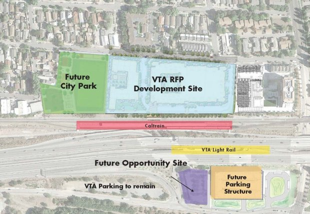 Overview of the Tamien VTA development site.  The site is  near Highway 87, on Lick Avenue near W. Alma Avenue in San Jose. (Map courtesy of Valley Transportation Authority)