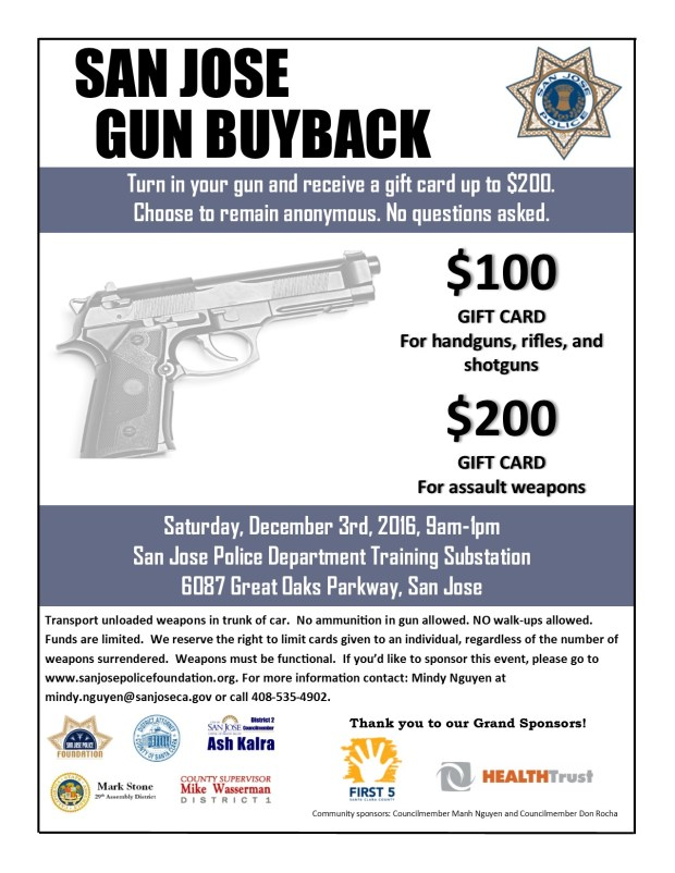 Flyer for San Jose gun buyback event scheduled for Dec. 3, 2016 at the SJPD southern substation.