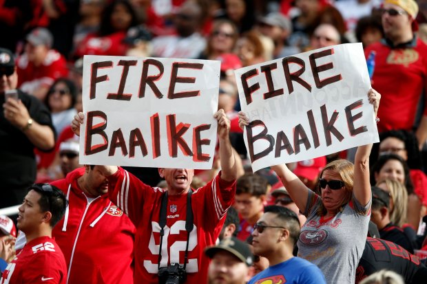 "San Francisco 49ers hold sign "" Fire Baalke"" during game against New Orleans Saints in the second quarter of their NFL game at Levi's Stadium in Santa Clara, Calif., on Sunday, Nov. 6, 2016. (Josie Lepe/Bay Area News Group)San Francisco 49ers"