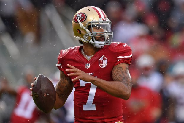 San Francisco 49ers quarterback Colin Kaepernick (7) looks to pass against the New England Patriots in the first quarter of their NFL game at Levi's Stadium in Santa Clara, Calif., on Sunday, Nov. 20, 2016. (Jose Carlos Fajardo/Bay Area News Group)