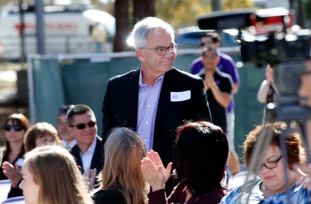 "Bill Sullivan, former CEO of Agilent Technologies, attends the groundbreaking ceremony for his namesake ""Bill's Backyard,"" a new outdoor children's play area at the Children's Discovery Museum on Wednesday, Nov. 16, 2016, in San Jose, Calif. (Karl Mondon/Bay Area News Group)"