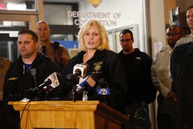 Santa Clara County Sheriff Laurie Smith holds a press conference regarding the capture of jail escapee Rogelio Chavez outside of the Main Jail in San Jose, Calif., on Wednesday, Nov. 30, 2016. (Nhat V. Meyer/Bay Area News Group)