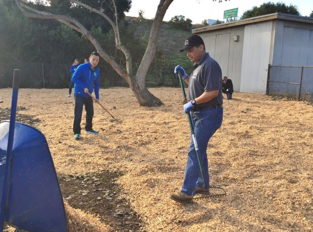 Beneful Brand Manager James Sun, left, and Angel Rios Jr., director of Parks, Recreation and Neighborhood Services, spread out wood chips at the dog park at Selma Olinder Park in San Jose, part of a makeover effort on Friday, Nov. 4, 2016. (Sal Pizarro/Staff)