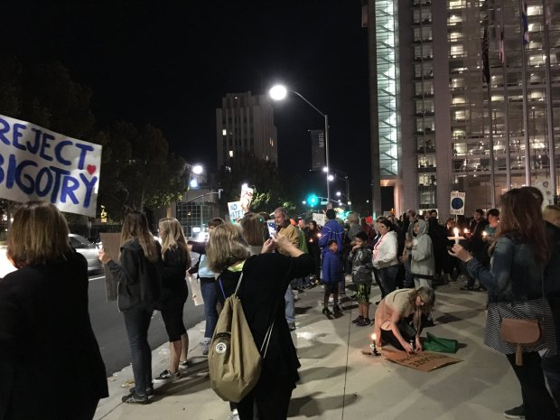Members of the San Jose chapter of Pantsuit Nation and Pussies for Peace demonstrated against a Trump presidency at San Jose City Hall on Saturday, Nov. 12, 2016. (Sharon Noguchi/Bay Area News Group)