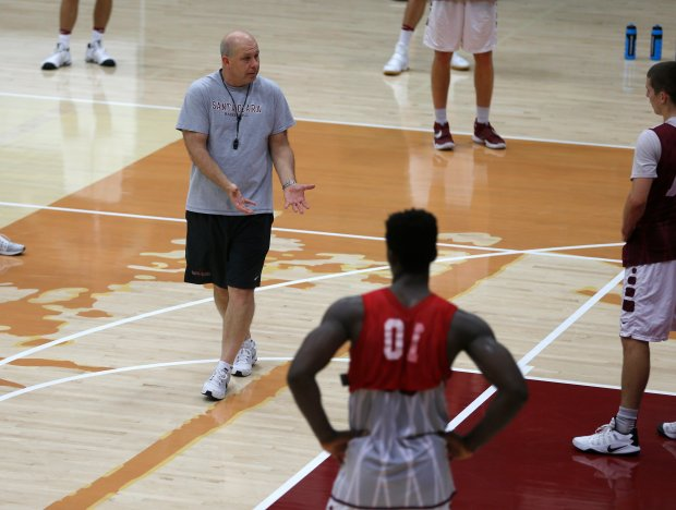 Herb Sendek talks to his team during practice at the Leavey Center. (Nhat V. Meyer/Bay Area News Group)