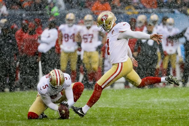 CHICAGO, IL - DECEMBER 04: Kicker Phil Dawson #4 of the San Francisco 49ers kicks a field goal in the second quarter against the Chicago Bears at Soldier Field on December 4, 2016 in Chicago, Illinois. (Photo by Jonathan Daniel/Getty Images)