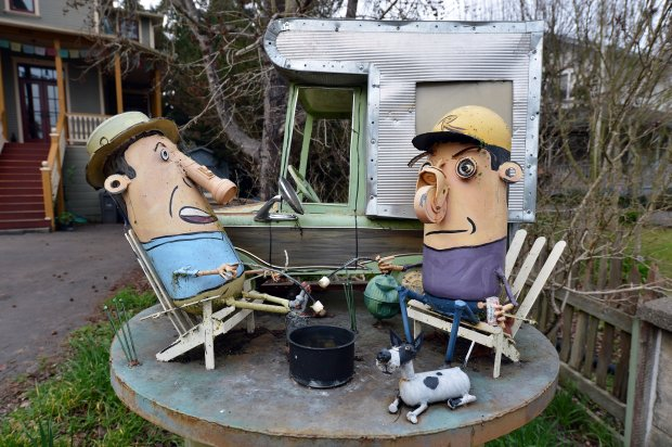 Whimsical sculptures, constructed of steel with many repurposed and recycled parts, decorate many front yards on Florence Avenue in Sebastopol, Calif., on Wednesday, Feb. 4, 2015. (Kristopher Skinner/Bay Area News Group)