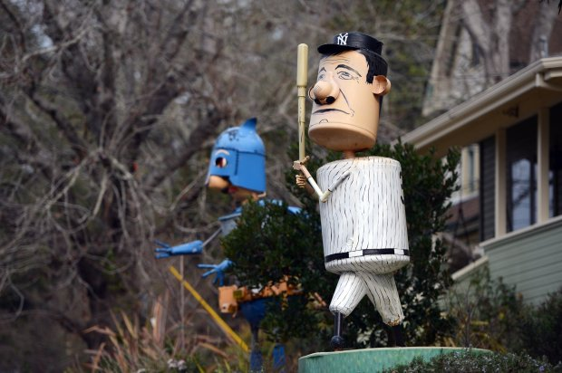 Whimsical sculptures, constructed of steel with many repurposed and recycled parts, decorate many front yards on Florence Avenue in Sebastopol. (Kristopher Skinner/Bay Area News Group)