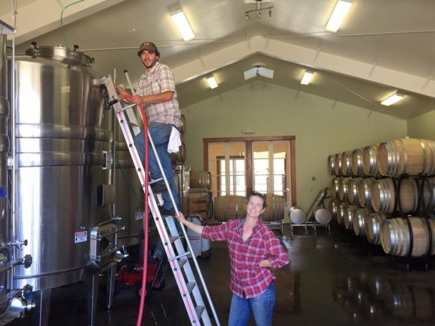 Winemakers Dan and Stephanie Rivin work together on The Princess & thePeasant wines. Photo credit: Courtesy of Dan and Stephanie Rivin