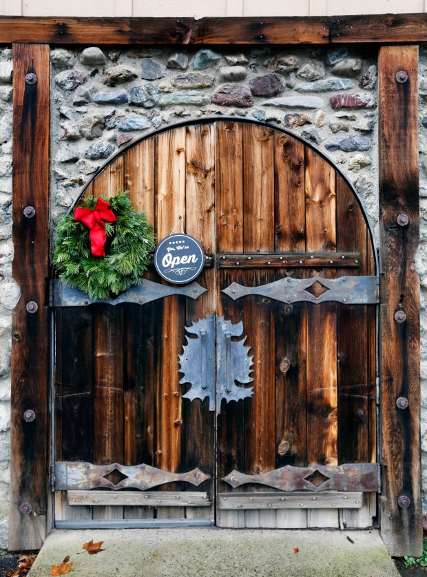 The old wooden door welcomes guests into Sip Mendocino along Highway 101 in Hopland, Calif., where guests can taste wines and shop for wine, beer, olive oil, and wine accessories on Wednesday, Dec. 14, 2016. (Laura A. Oda/Bay Area News Group)