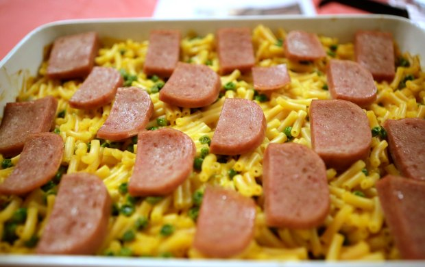 Spam mac and cheese dish at the annual Mid-Century Supper Club Potluck at the Alameda Fraternal Order of Eagles Hall in Alameda, Calif., on Saturday, December 10, 2016. Over 200 attended the ninth annual Mid-Century Supper Club Potluck hosted by Jennye Garibaldi and Karen Finlay. (Josie Lepe/Bay Area News Group)