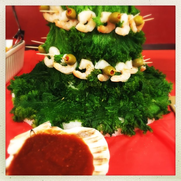This image was made using a smartphone with filters Histamatic. Detail of a Shrimp tree at the annual Mid-Century Supper Club Potluck at the Alameda Fraternal Order of Eagles Hall in Alameda, Calif., on Saturday, December 10, 2016. Over 200 attended the ninth annual Mid-Century Supper Club Potluck hosted by Jennye Garibaldi and Karen Finlay.