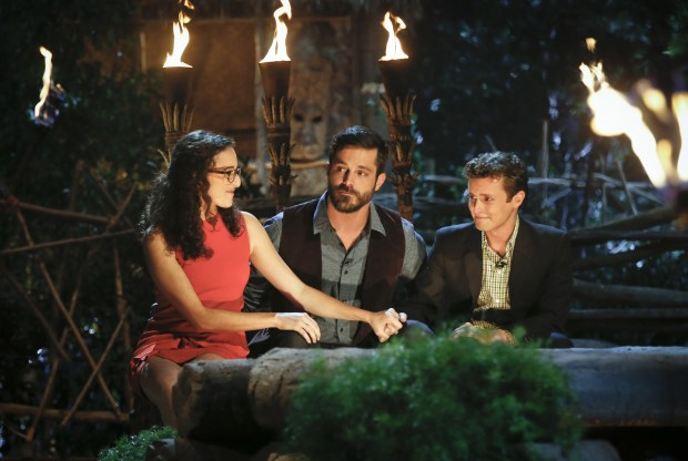 Adam Klein is crowned Sole Survivor, on the two-hour season finale, followed by the one-hour live reunion show hosted by Emmy Award winner Jeff Probst, on SURVIVOR, Wednesday, Dec. 14 (8:00-11:00 PM, ET/PT) on the CBS Television Network. Pictured (l-r): Hannah Shapiro, Ken McNickle, and Adam Klein. Photo: Monty Brinton/CBS ©2016 CBS Broadcasting, Inc. All Rights Reserved.