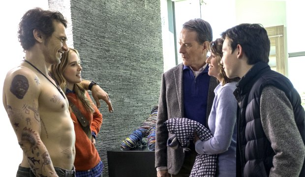 Laird (James Franco), from left, meets his girlfriend Stephanie's (ZoeyDeutch) family -- Ned (Bryan Cranston), Barb (Megan Mullally) and Scotty (Griffin Gluck). (Scott Garfield/(Twentieth Century Fox Film Corporation)