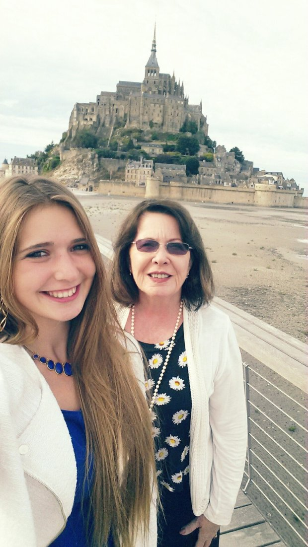 Courtesy of Donna DellFRANCE: Emma Bedert of Dijon and law school mentor, Donna Dell of Walnut Creek, recently celebrated their September birthdays at Mont Saint Michel in Normandy.