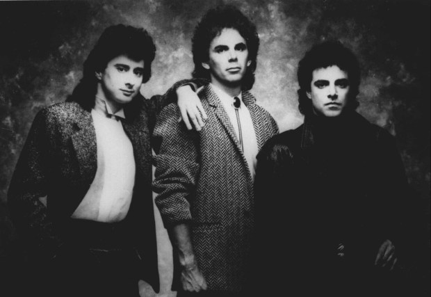 A 1987 photo of the rock group Journey. From left, are: Steve Perry, Jonathan Cain, Neal Schon. (AP Photo)