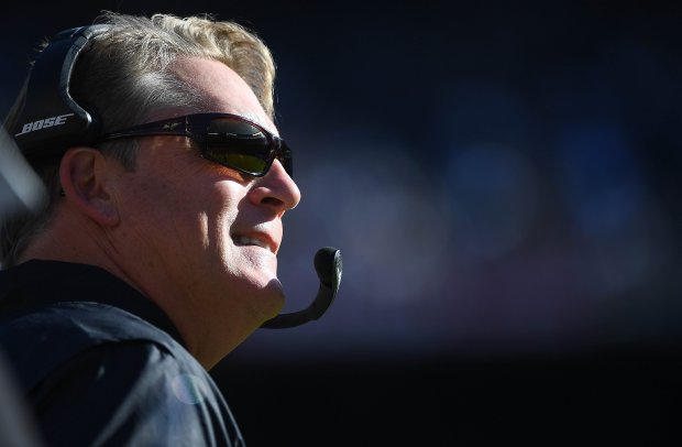 SAN DIEGO, CA - DECEMBER 18: Head Coach Jack Del Rio of the Oakland Raiders looks on from the sidelines during his teams game against the San Diego Chargers at Qualcomm Stadium on December 18, 2016 in San Diego, California. (Photo by Donald Miralle/Getty Images)
