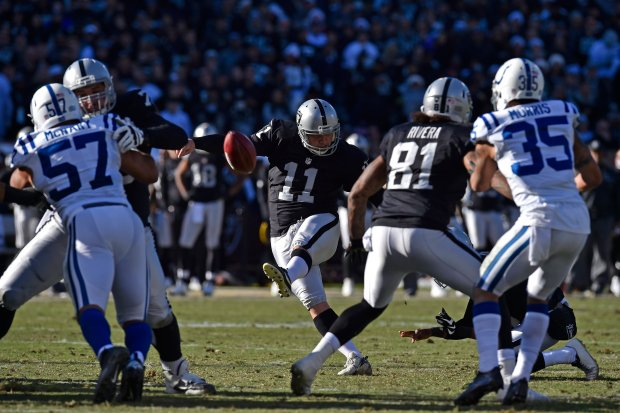 Oakland Raiders kicker Sebastian Janikowski (11) fails to kick an extra point against the Indianapolis Colts in the second quarter of their NFL game at the Coliseum in Oakland, Calif., on Saturday, Dec. 24, 2016. (Jose Carlos Fajardo/Bay Area News Group)
