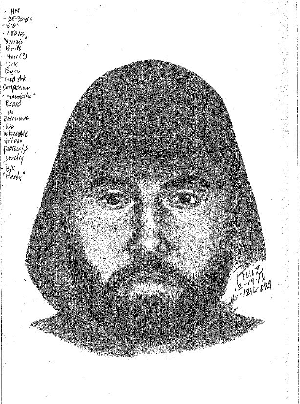The person depicted in this police sketch is suspected of shooting a man outside the Bel Mateo Bowl in San Mateo on Dec. 16, 2016.