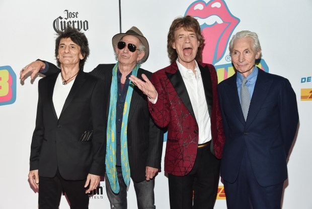 "The Rolling Stones, from left, Ronnie Wood, Keith Richards, Mick Jagger and Charlie Watts attend the opening night party for ""Exhibitionism"" at Industria on Tuesday, Nov. 15, 2016, in New York. (Photo by Evan Agostini/Invision/AP)"
