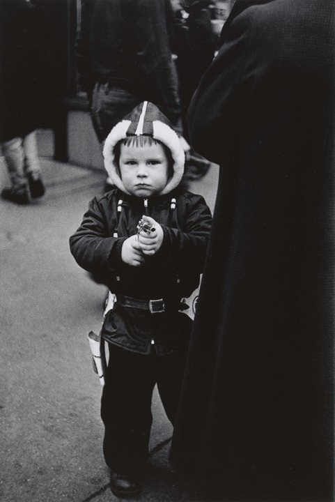 """Diane Arbus, """"Kid in a hooded jacket aiming a gun, N.Y.C. 1957."""" (© TheEstate of Diane Arbus, LLC, all rights reserved)"""