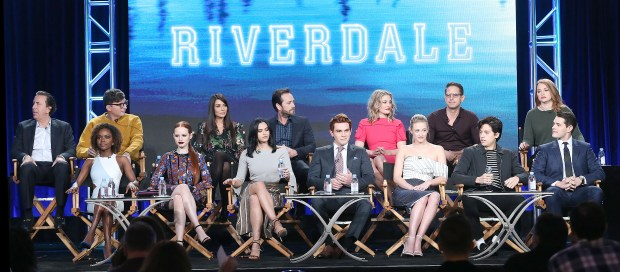 Front row: Ashleigh Murry (Josie), Madelaine Petsch (Cheryl), Camila Mendes (Veronica), K. J. Apa (Archie), Lili Reinhart (Betty), Cole Sprouse (Jughead) and Casey Cott (Kevin). Back row: producer Jon Coldwater, writer Roberto Aguirre-Sacasa, Marisol Nichols (Veronica's mom), Luke Perry (Archie's dad), Madchen Amick (Betty's mom), writer Greg Berlanti and producer Sarah Schechter. (Photo by Frederick M. Brown/Getty Images)