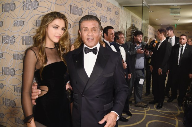 BEVERLY HILLS, CA - JANUARY 08: Miss Golden Globe 2017 Scarlet Stallone and actor Sylvester Stallone attend HBO's Official Golden Globe Awards After Party at Circa 55 Restaurant on January 8, 2017 in Beverly Hills, California. (Photo by Joshua Blanchard/Getty Images)